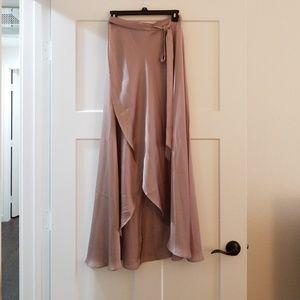 3f0bb3b72c2111 ASOS Skirts | Brand New Taupe Satin Wrap Skirt | Poshmark